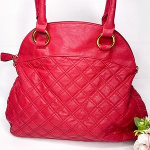 Big Buddha Red Vegan Leather Quilted Bag